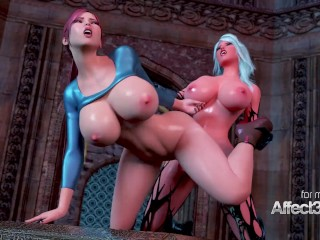 Big tits babe awakening the futanari demon in a 3d animation